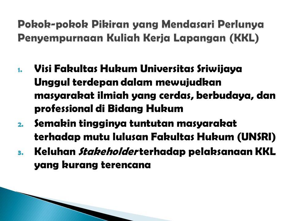 1. Visi Fakultas Hukum Universitas Sriwijaya Unggul terdepan dalam mewujudkan masyarakat ilmiah yang cerdas, berbudaya, dan professional di Bidang Huk