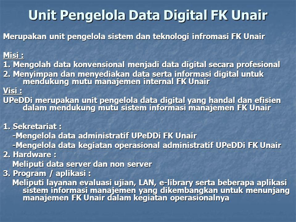 Unit Pengelola Data Digital FK Unair Merupakan unit pengelola sistem dan teknologi infromasi FK Unair Misi : 1.