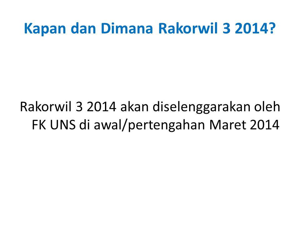 Kapan dan Dimana Rakorwil 3 2014.