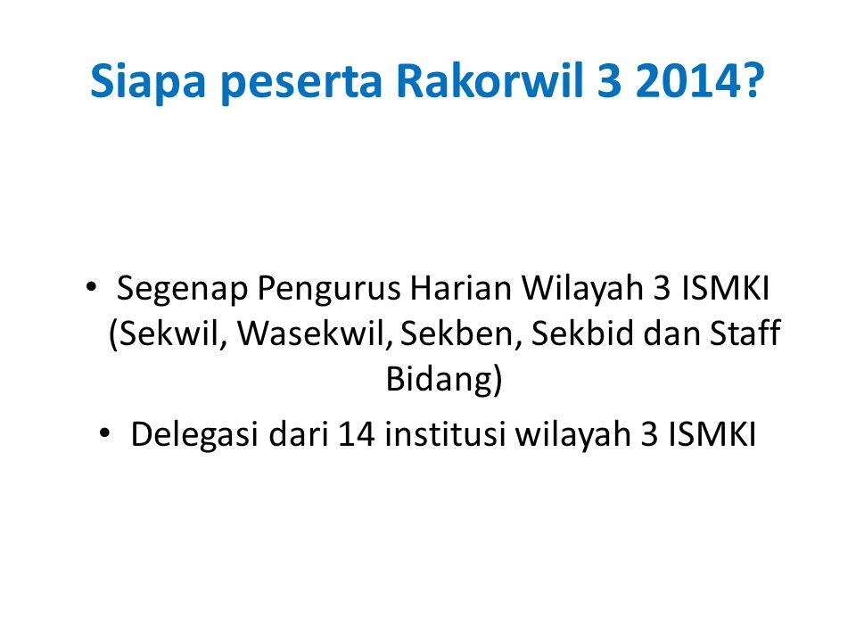Siapa peserta Rakorwil 3 2014? Segenap Pengurus Harian Wilayah 3 ISMKI (Sekwil, Wasekwil, Sekben, Sekbid dan Staff Bidang) Delegasi dari 14 institusi