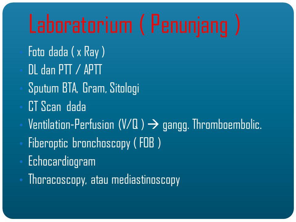 Foto dada ( x Ray ) DL dan PTT / APTT Sputum BTA, Gram, Sitologi CT Scan dada Ventilation-Perfusion (V/Q )  gangg.