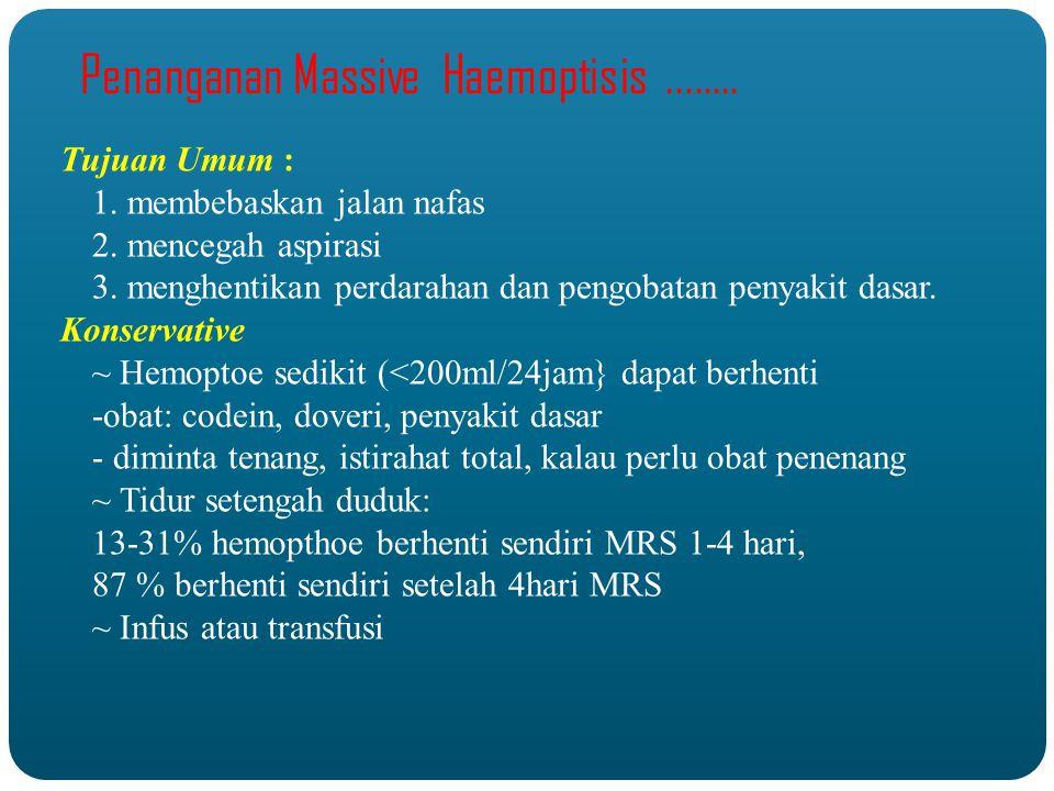 Penanganan Massive Haemoptisis........Tujuan Umum : 1.