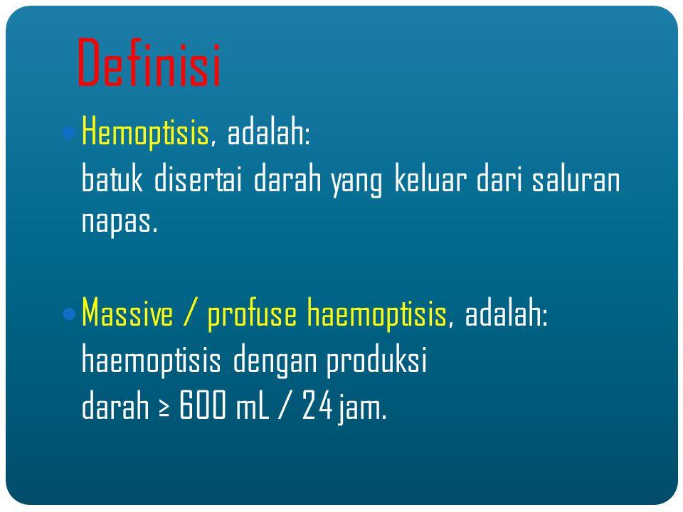 Definisi Hemoptisis, adalah: batuk disertai darah yang keluar dari saluran napas.