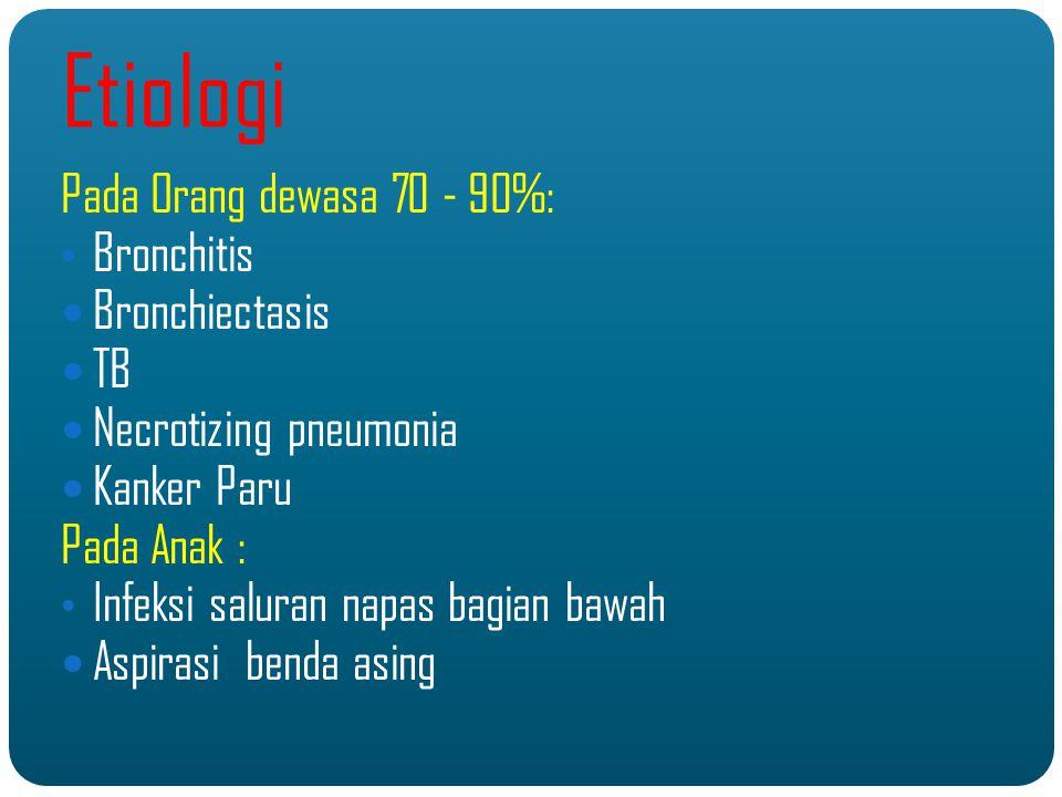 Diagnosis ( Anamnesa ) Riwayat Penyakit Sekarang : - Onset terjadinya: Akut ( 2 mgg ) - Frekwensi terjadinya : Single haemoptisis ( Jarak > 7 hari ) Repeated haemoptisis ( jarak < 7 hari ) - Volume hemoptisis ( minimal, Profuse ) - Progresifitas batuk : memberat / tidak - Faktor Provokasi : alergen, dingin, olah raga, posisi terlentang - Volume hemoptisis ( minimal, Profuse ) - Bedakan antara: * Haemoptisis murni * Pseudohemoptysis * Hematemesis