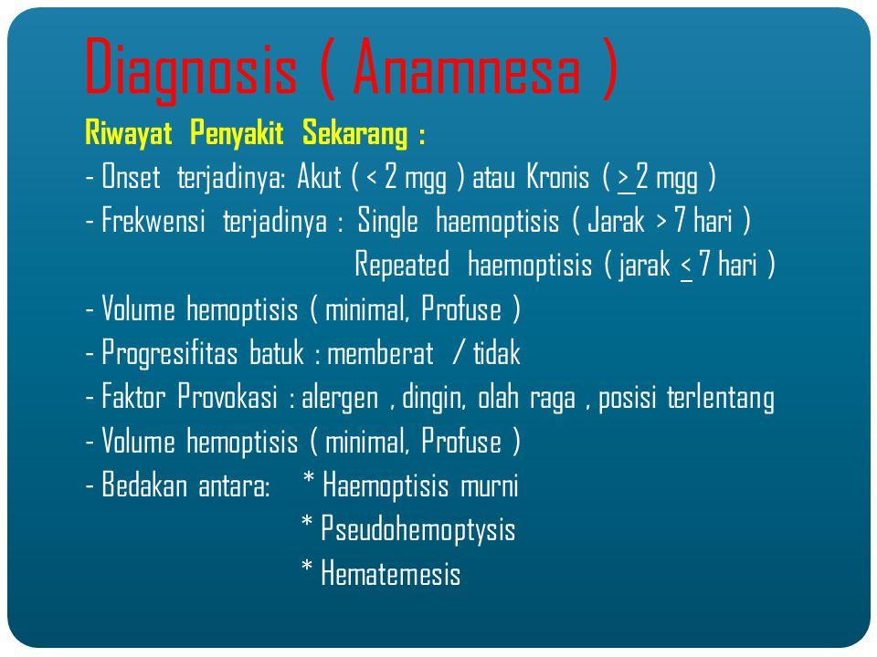 KeteranganHaemoptisisPseudohaemoptisis / Epistaksis Hematemesis Asal darahParuNasopharing / hidungLambung Cara darah keluar Di batukkanTanpa batuk /mengalir saja Di muntahkan, ( sebelumnya ada rasa mual ) Warna darah PH Benzidine test Merah segar dan berbuih Alkalis Negatif Merah segar tanpa buih Alkalis Negatif Merah kehitam an ( bercampur asam lambung ) Asam Positif Perbedaan Haemoptisi, Pseudohaemoptisis & Hematemesis
