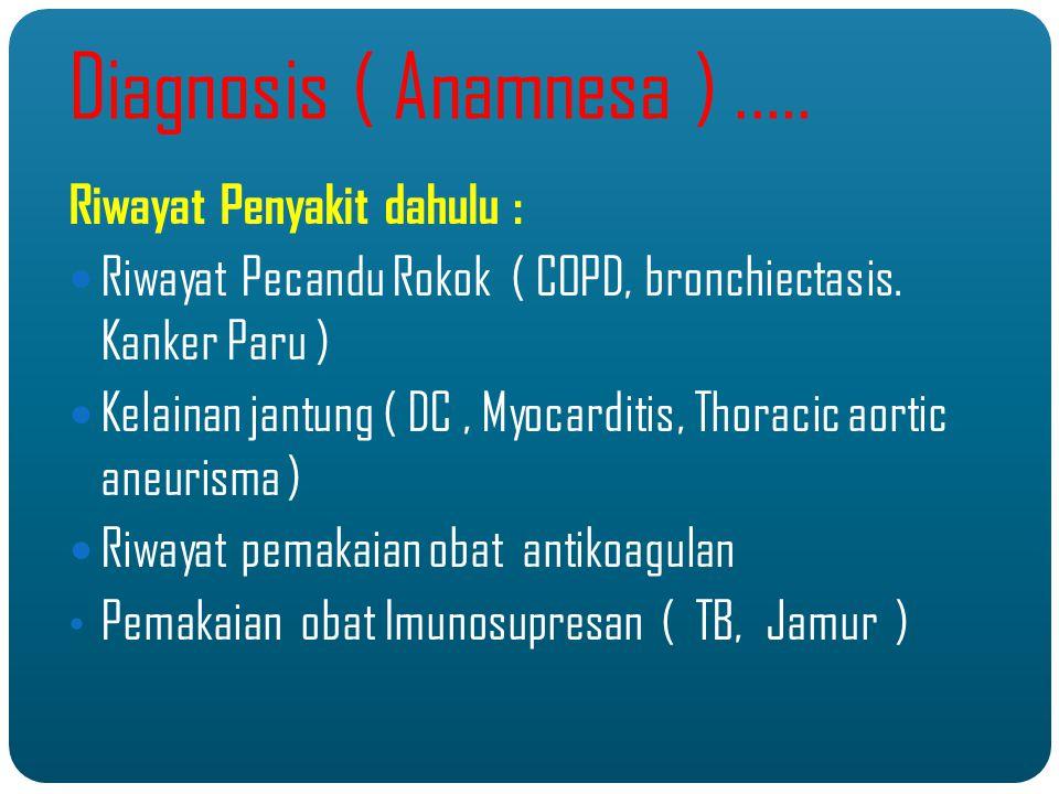 Diagnosis ( Anamnesa ).....Riwayat Penyakit dahulu : Riwayat Pecandu Rokok ( COPD, bronchiectasis.
