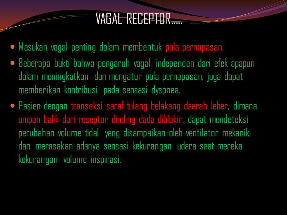 VAGAL RECEPTOR…..Masukan vagal penting dalam membentuk pola pernapasan.