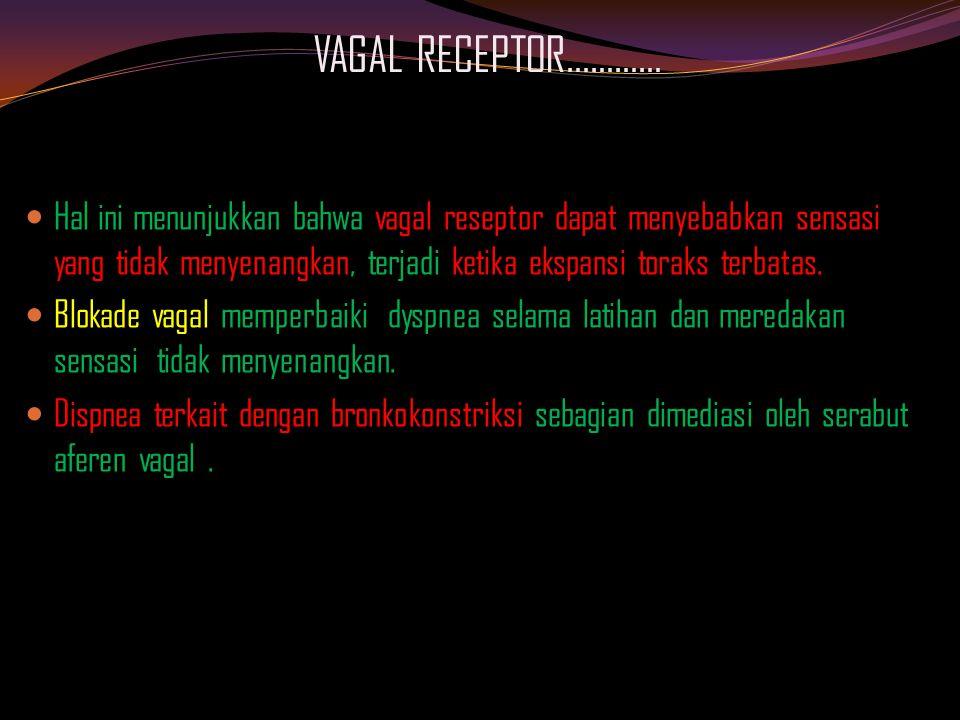 VAGAL RECEPTOR………… Hal ini menunjukkan bahwa vagal reseptor dapat menyebabkan sensasi yang tidak menyenangkan, terjadi ketika ekspansi toraks terbatas.
