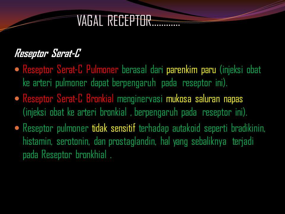 VAGAL RECEPTOR………… Reseptor Serat-C Reseptor Serat-C Pulmoner berasal dari parenkim paru (injeksi obat ke arteri pulmoner dapat berpengaruh pada reseptor ini).