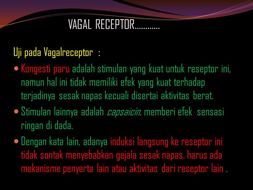 VAGAL RECEPTOR………… Uji pada Vagalreceptor : Kongesti paru adalah stimulan yang kuat untuk reseptor ini, namun hal ini tidak memiliki efek yang kuat terhadap terjadinya sesak napas kecuali disertai aktivitas berat.