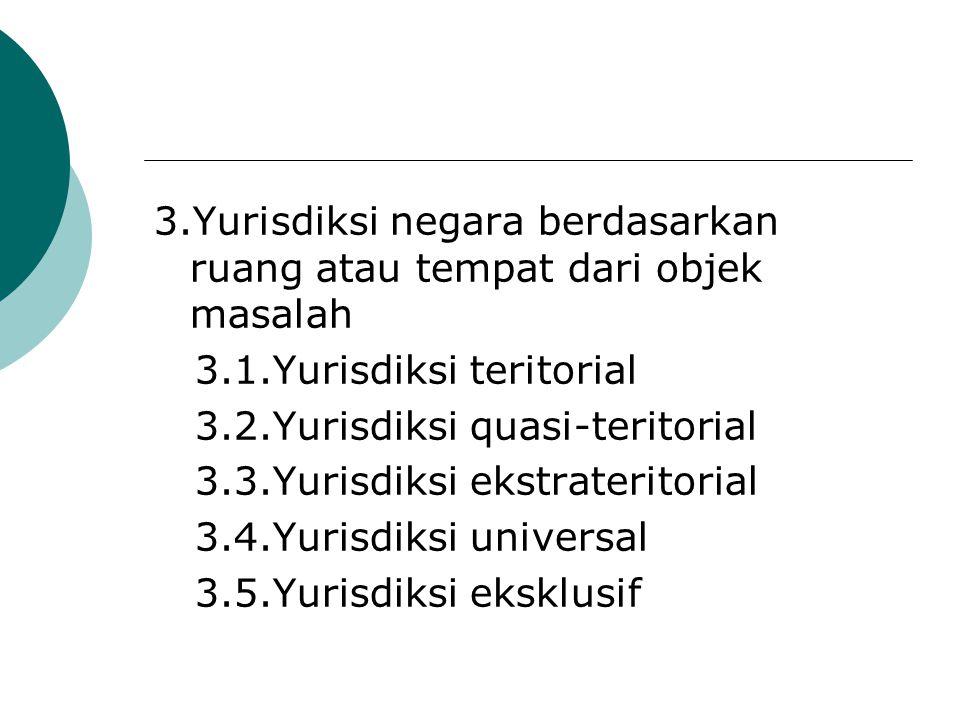 3.Yurisdiksi negara berdasarkan ruang atau tempat dari objek masalah 3.1.Yurisdiksi teritorial 3.2.Yurisdiksi quasi-teritorial 3.3.Yurisdiksi ekstrate