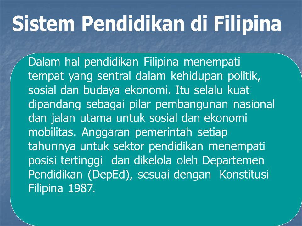 Dalam hal pendidikan Filipina menempati tempat yang sentral dalam kehidupan politik, sosial dan budaya ekonomi. Itu selalu kuat dipandang sebagai pila