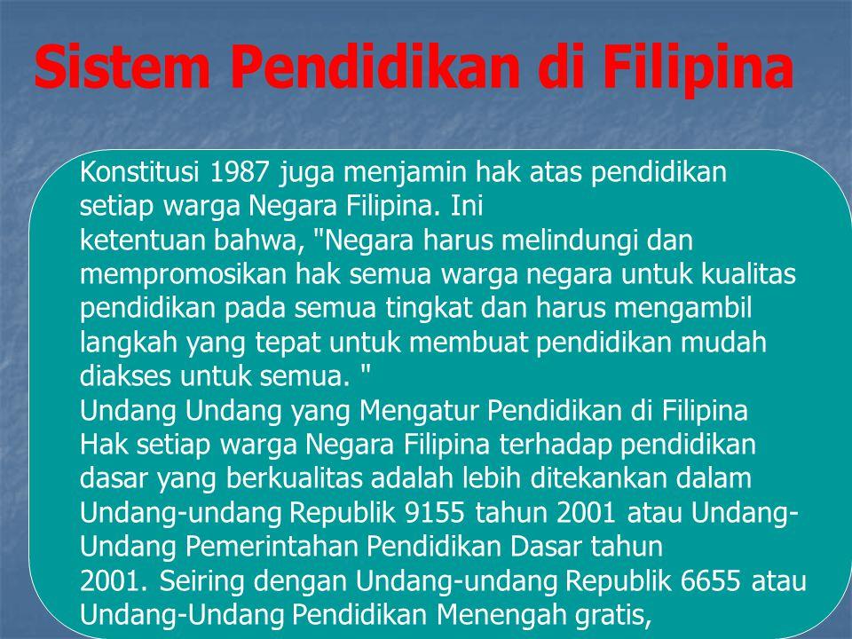 Konstitusi 1987 juga menjamin hak atas pendidikan setiap warga Negara Filipina.