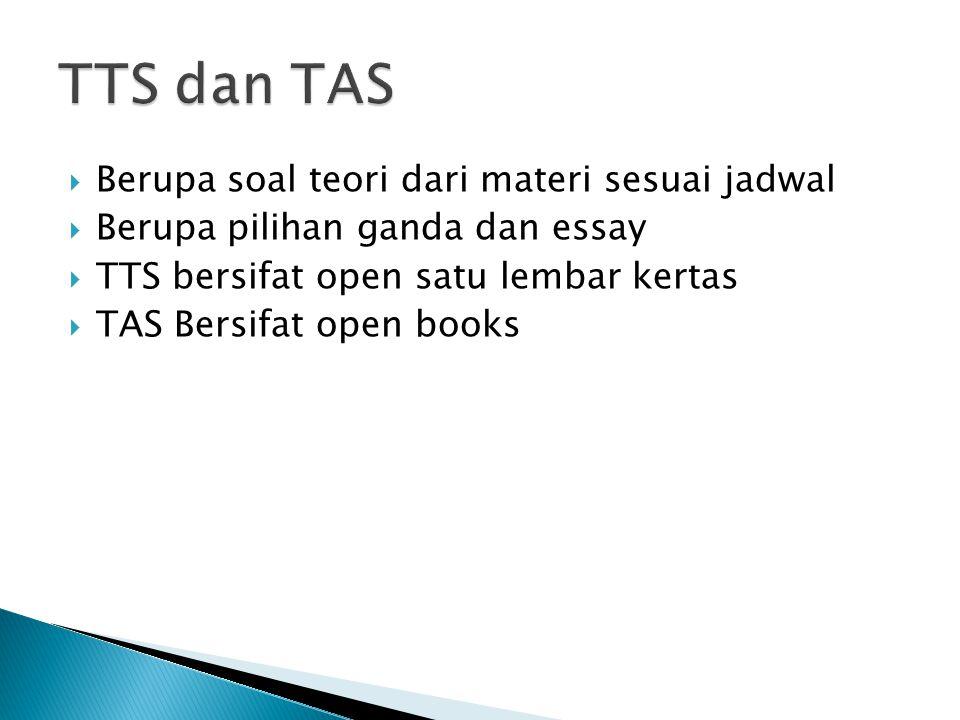  Berupa soal teori dari materi sesuai jadwal  Berupa pilihan ganda dan essay  TTS bersifat open satu lembar kertas  TAS Bersifat open books