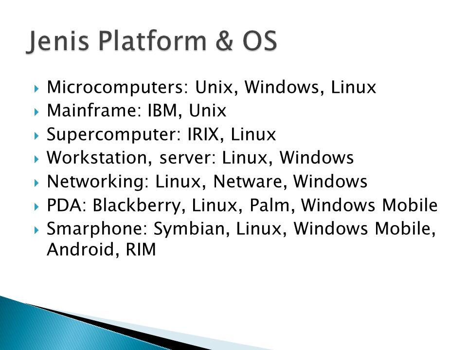  Microcomputers: Unix, Windows, Linux  Mainframe: IBM, Unix  Supercomputer: IRIX, Linux  Workstation, server: Linux, Windows  Networking: Linux,
