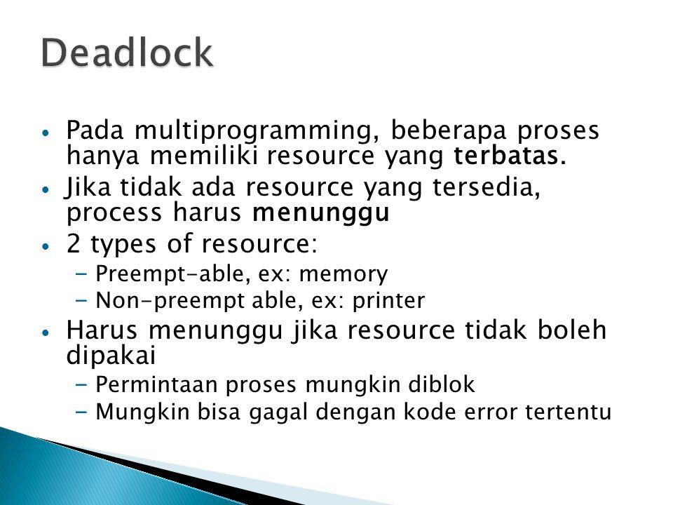 Pada multiprogramming, beberapa proses hanya memiliki resource yang terbatas. Jika tidak ada resource yang tersedia, process harus menunggu 2 types of