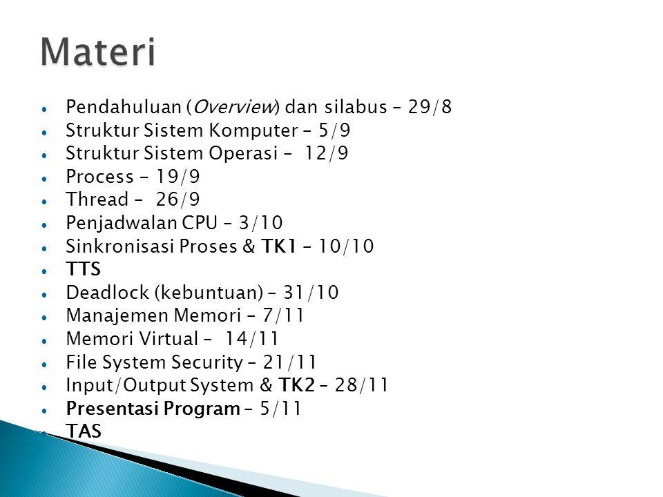 Pendahuluan (Overview) dan silabus – 29/8 Struktur Sistem Komputer – 5/9 Struktur Sistem Operasi – 12/9 Process - 19/9 Thread – 26/9 Penjadwalan CPU –