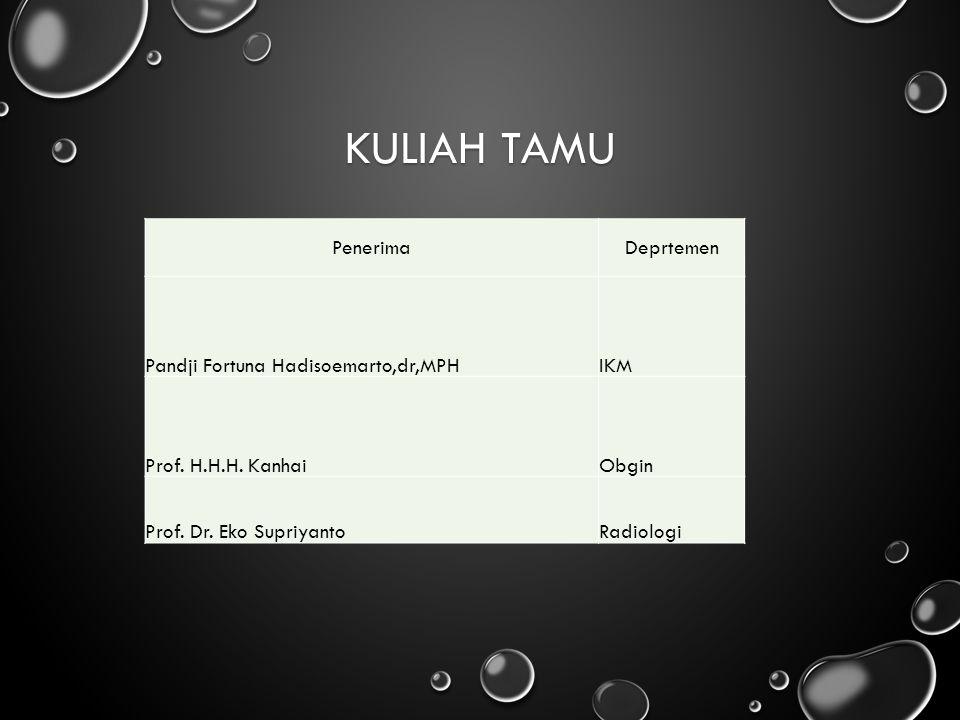 KULIAH TAMU PenerimaDeprtemen Pandji Fortuna Hadisoemarto,dr,MPHIKM Prof. H.H.H. KanhaiObgin Prof. Dr. Eko SupriyantoRadiologi