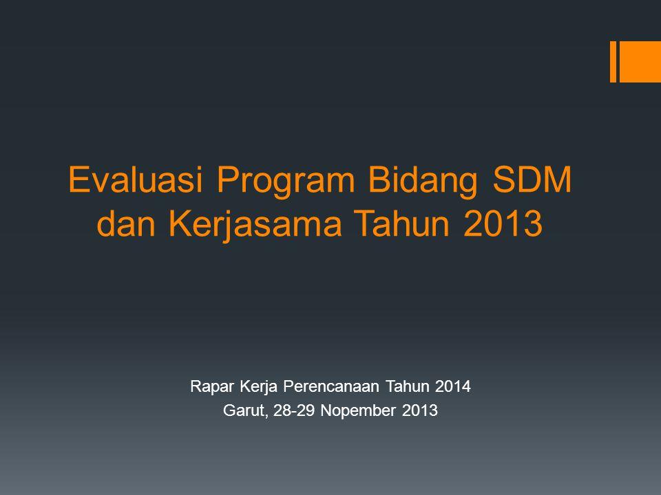 Evaluasi Program Bidang SDM dan Kerjasama Tahun 2013 Rapar Kerja Perencanaan Tahun 2014 Garut, 28-29 Nopember 2013