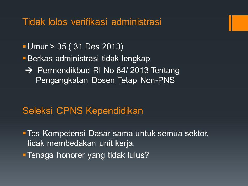 Tidak lolos verifikasi administrasi  Umur > 35 ( 31 Des 2013)  Berkas administrasi tidak lengkap  Permendikbud RI No 84/ 2013 Tentang Pengangkatan Dosen Tetap Non-PNS Seleksi CPNS Kependidikan  Tes Kompetensi Dasar sama untuk semua sektor, tidak membedakan unit kerja.