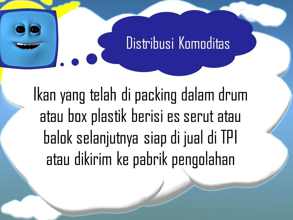 Distribusi Komoditas Ikan yang telah di packing dalam drum atau box plastik berisi es serut atau balok selanjutnya siap di jual di TPI atau dikirim ke
