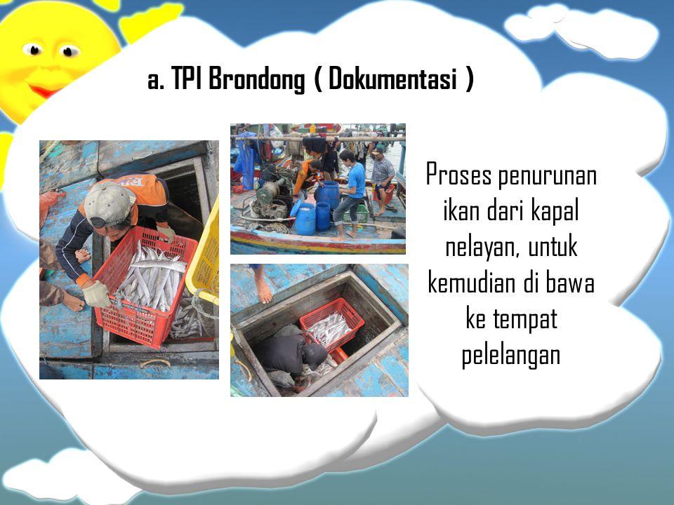 a. TPI Brondong ( Dokumentasi ) Proses penurunan ikan dari kapal nelayan, untuk kemudian di bawa ke tempat pelelangan