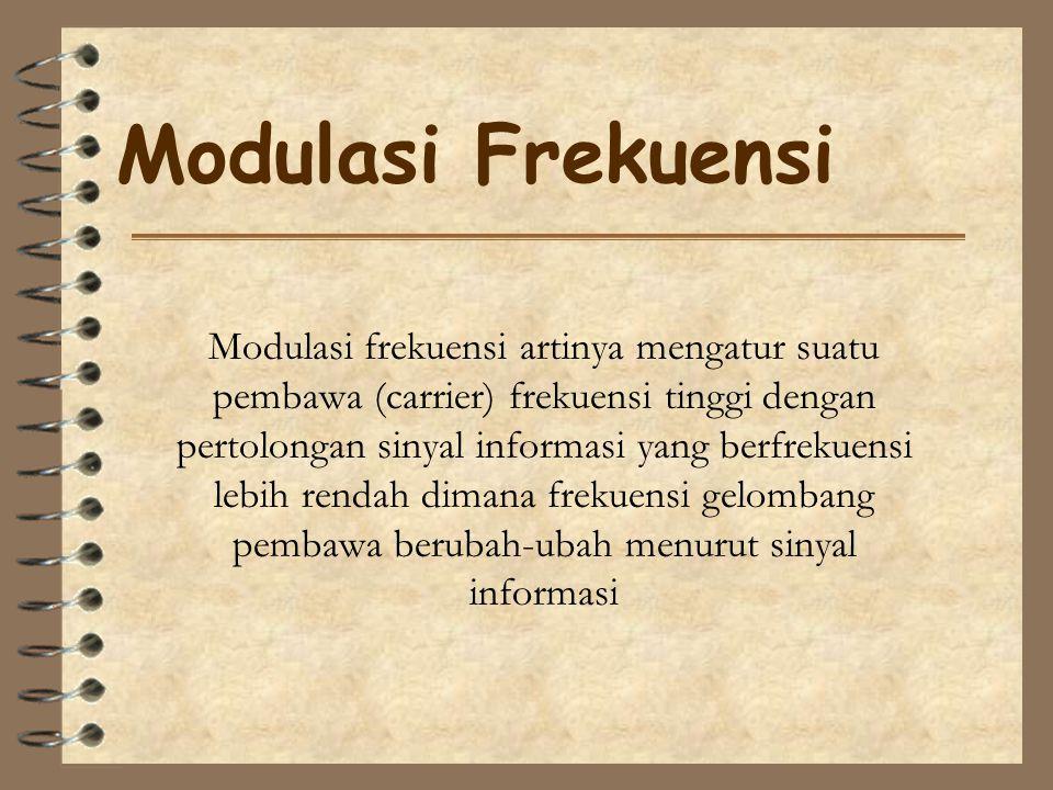 Modulasi Frekuensi Modulasi frekuensi artinya mengatur suatu pembawa (carrier) frekuensi tinggi dengan pertolongan sinyal informasi yang berfrekuensi