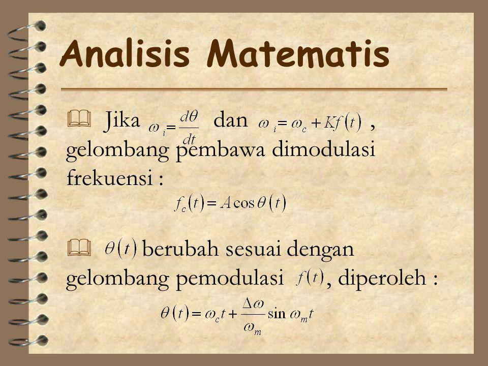 Analisis Matematis  Jika dan, gelombang pembawa dimodulasi frekuensi :  berubah sesuai dengan gelombang pemodulasi, diperoleh :