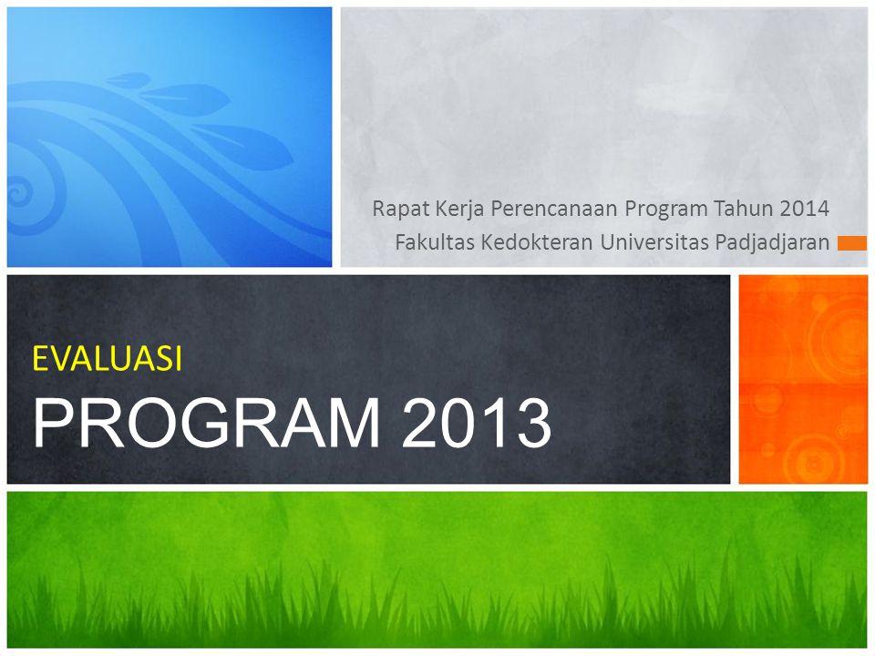 Rapat Kerja Perencanaan Program Tahun 2014 Fakultas Kedokteran Universitas Padjadjaran EVALUASI PROGRAM 2013