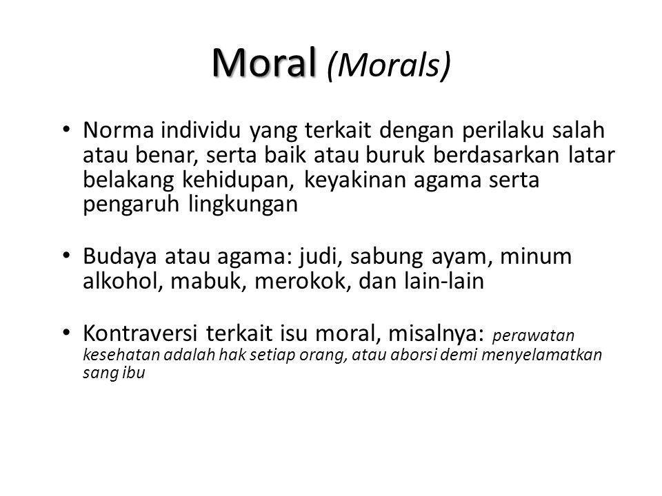 Moral Moral (Morals) Norma individu yang terkait dengan perilaku salah atau benar, serta baik atau buruk berdasarkan latar belakang kehidupan, keyakin