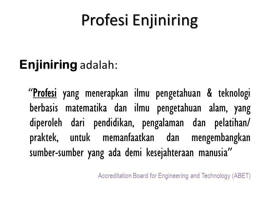 Etika Enjiniring Enjiniring adalah sebuah profesi, seperti halnya hukum, kedokteran, farmasi dan lain-lainnya Profesional biasanya memiliki pendidikan tinggi Masyarakat pengguna sering kali kurang pengetahuan tentang apa yang dikerjakan engineer Engineer memiliki kewajiban dan tanggungjawab etika, yang merupakan bagian dari etika enjiniring