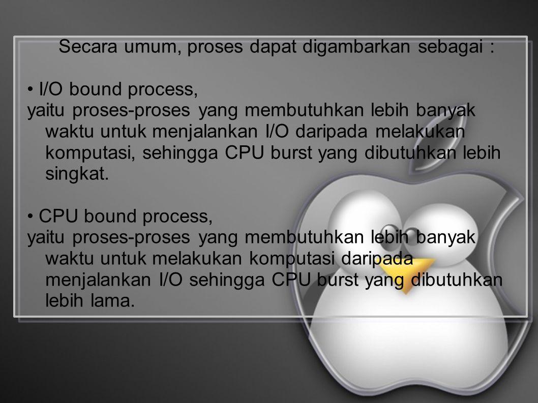 Secara umum, proses dapat digambarkan sebagai : I/O bound process, yaitu proses-proses yang membutuhkan lebih banyak waktu untuk menjalankan I/O daripada melakukan komputasi, sehingga CPU burst yang dibutuhkan lebih singkat.