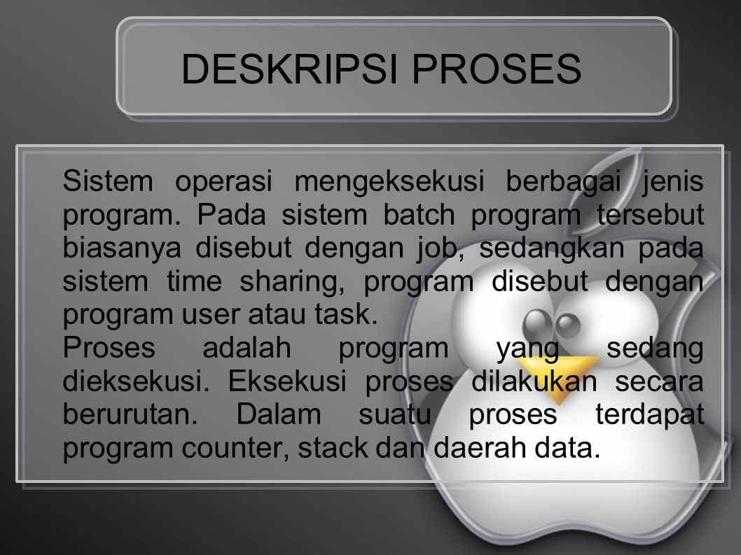 Status Proses Pada saat proses dieksekusi, akan terjadi perubahan status.