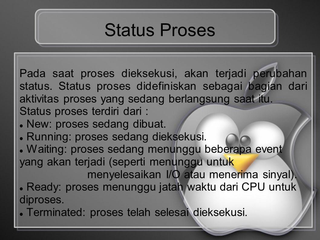 Status Proses Pada saat proses dieksekusi, akan terjadi perubahan status. Status proses didefiniskan sebagai bagian dari aktivitas proses yang sedang