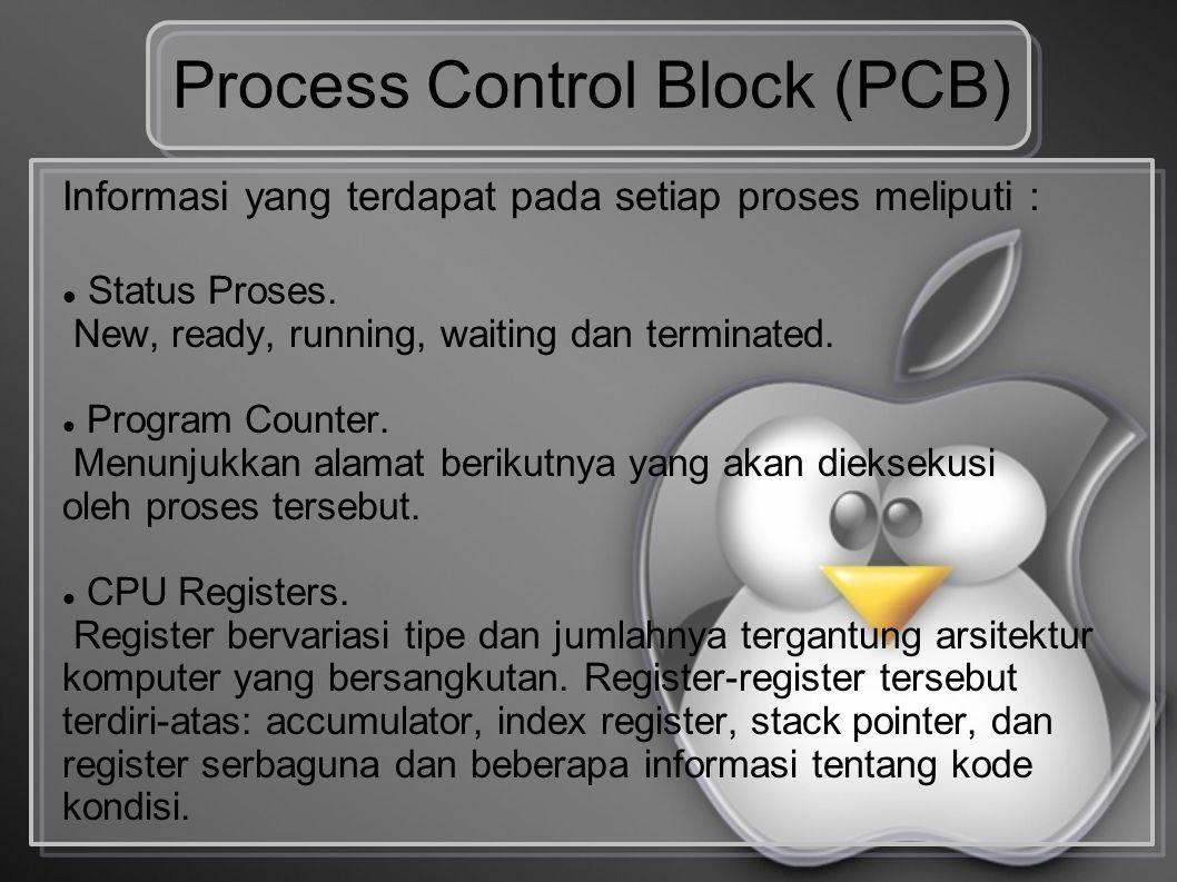 Process Control Block (PCB) Informasi yang terdapat pada setiap proses meliputi : Status Proses. New, ready, running, waiting dan terminated. Program