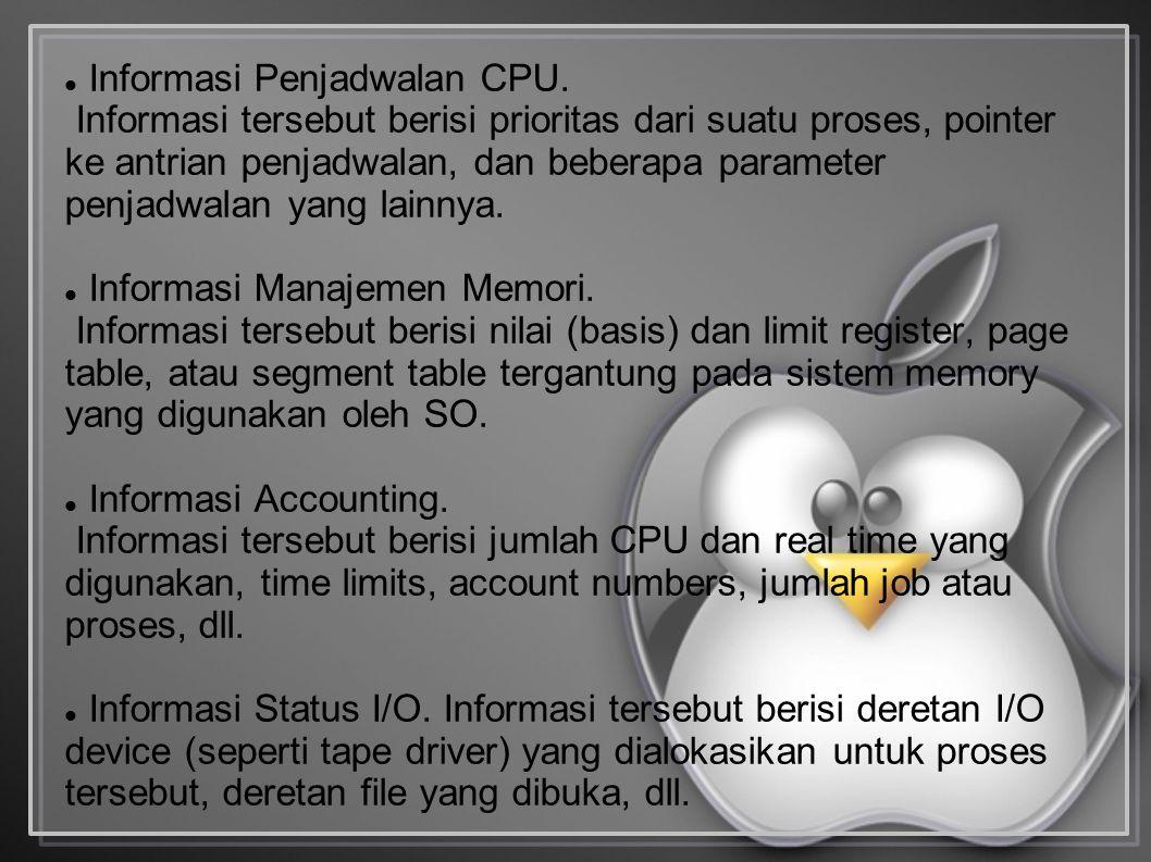 Informasi Penjadwalan CPU. Informasi tersebut berisi prioritas dari suatu proses, pointer ke antrian penjadwalan, dan beberapa parameter penjadwalan y