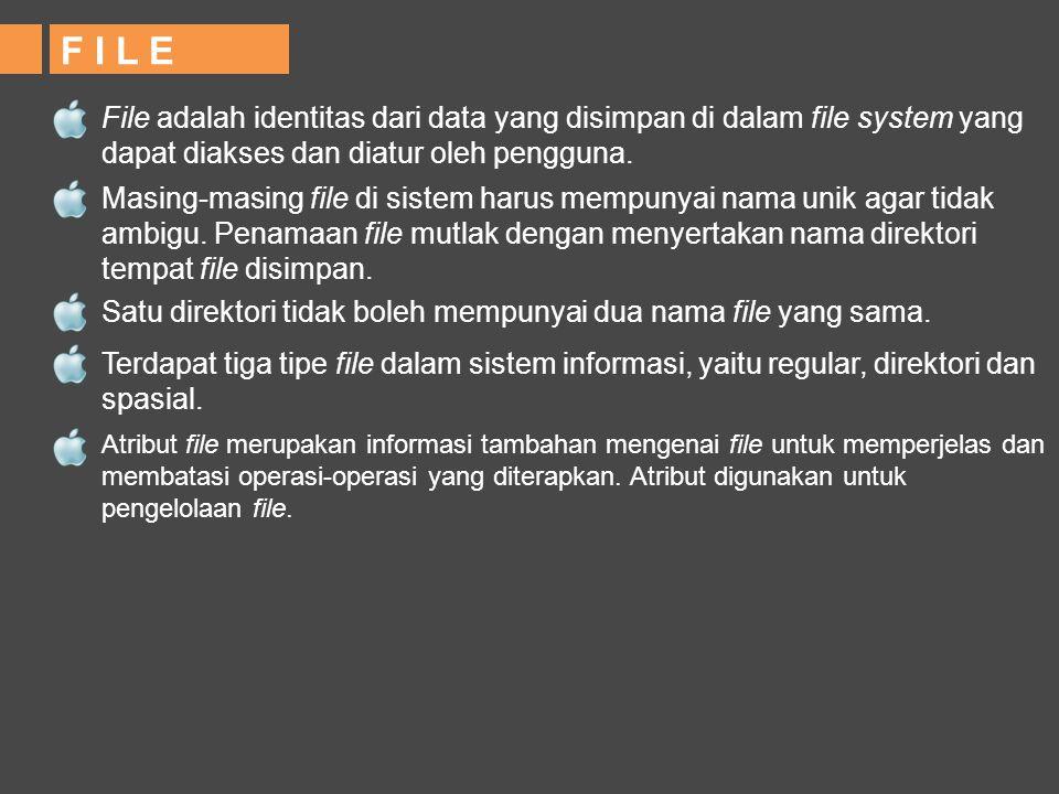 F I L E File adalah identitas dari data yang disimpan di dalam file system yang dapat diakses dan diatur oleh pengguna. Masing-masing file di sistem h