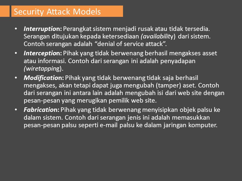 Interruption: Perangkat sistem menjadi rusak atau tidak tersedia. Serangan ditujukan kepada ketersediaan (availability) dari sistem. Contoh serangan a