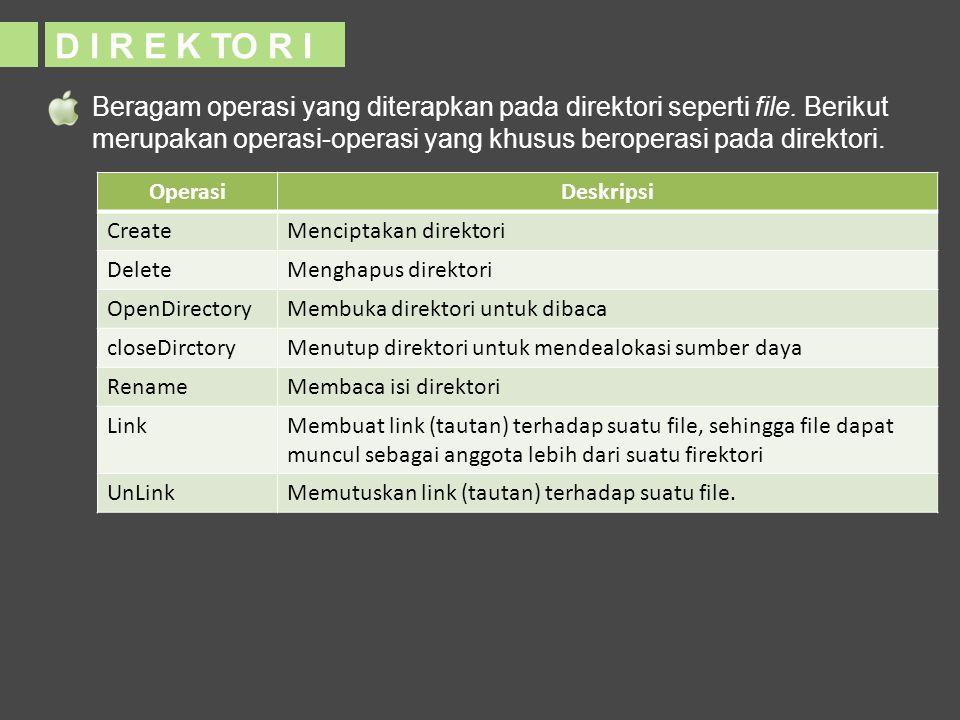 Beragam operasi yang diterapkan pada direktori seperti file. Berikut merupakan operasi-operasi yang khusus beroperasi pada direktori. OperasiDeskripsi