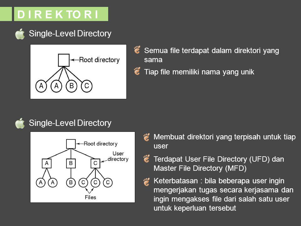 Single-Level Directory D I R E K TO R I Semua file terdapat dalam direktori yang sama Tiap file memiliki nama yang unik Single-Level Directory Membuat