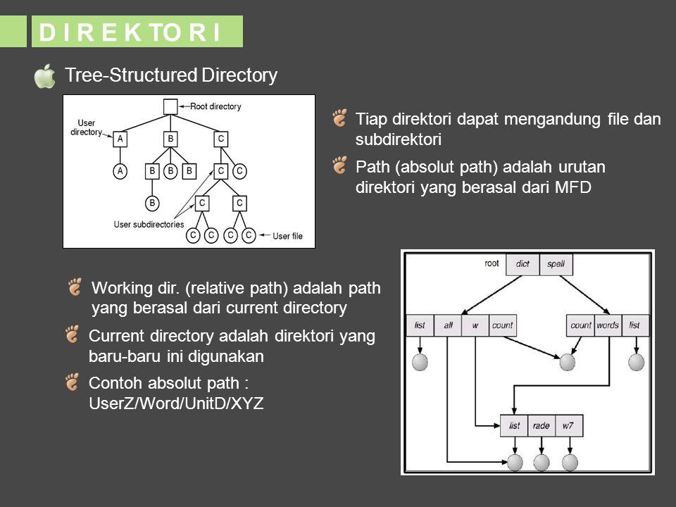 Tree-Structured Directory D I R E K TO R I Tiap direktori dapat mengandung file dan subdirektori Path (absolut path) adalah urutan direktori yang bera