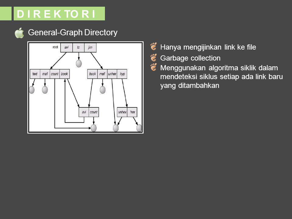 General-Graph Directory D I R E K TO R I Hanya mengijinkan link ke file Garbage collection Menggunakan algoritma siklik dalam mendeteksi siklus setiap