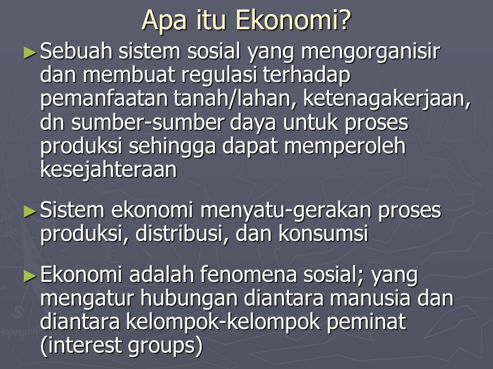 Apa itu Ekonomi? ► Sebuah sistem sosial yang mengorganisir dan membuat regulasi terhadap pemanfaatan tanah/lahan, ketenagakerjaan, dn sumber-sumber da