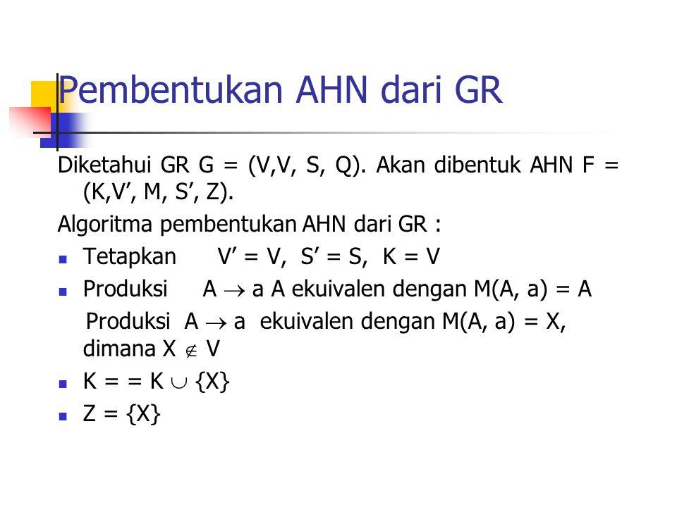 Pembentukan AHN dari GR Diketahui GR G = (V,V, S, Q). Akan dibentuk AHN F = (K,V', M, S', Z). Algoritma pembentukan AHN dari GR : Tetapkan V' = V, S'
