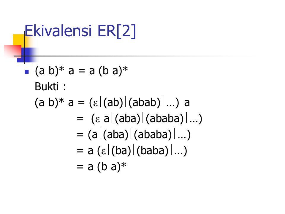Ekivalensi ER[2] (a b)* a = a (b a)* Bukti : (a b)* a = (  (ab)  (abab)  …) a = (  a  (aba)  (ababa)  …) = (a  (aba)  (ababa)  …) = a ( 