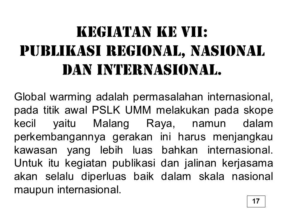 Kegiatan ke VII: Publikasi Regional, Nasional dan Internasional.
