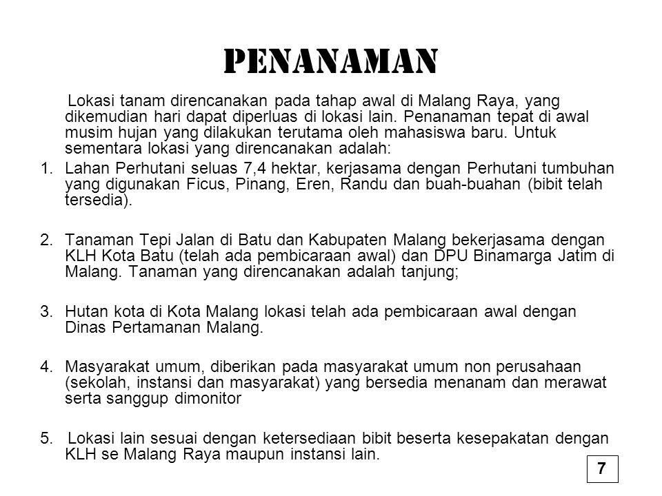 PENANAMAN Lokasi tanam direncanakan pada tahap awal di Malang Raya, yang dikemudian hari dapat diperluas di lokasi lain.
