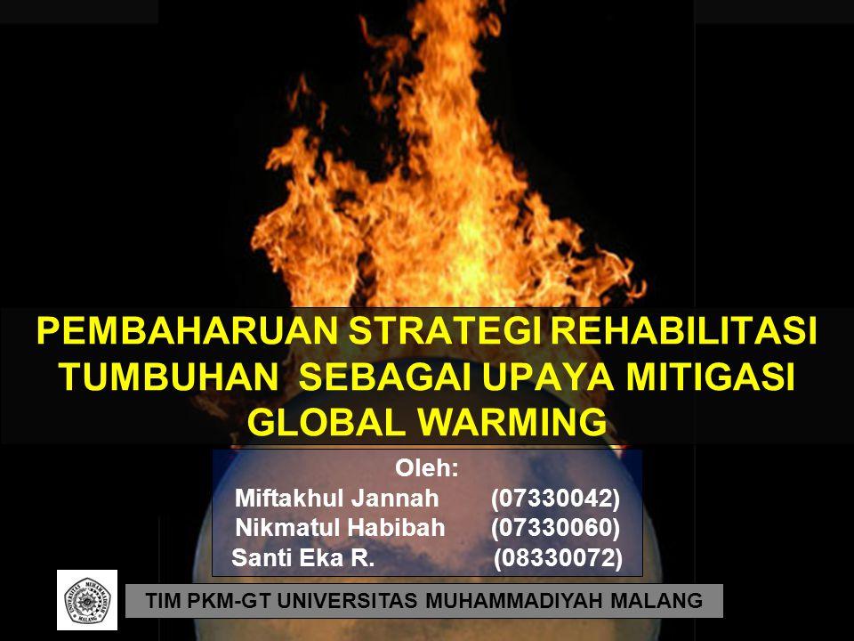 PEMBAHARUAN STRATEGI REHABILITASI TUMBUHAN SEBAGAI UPAYA MITIGASI GLOBAL WARMING TIM PKM-GT UNIVERSITAS MUHAMMADIYAH MALANG Oleh: Miftakhul Jannah(073