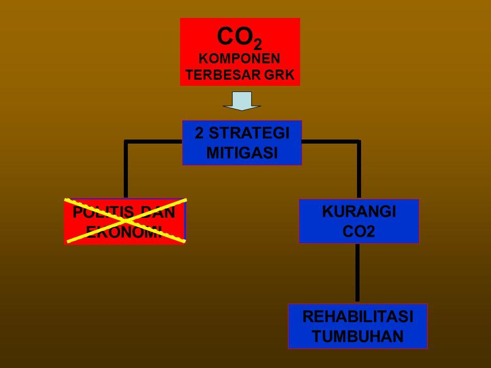 CO 2 KOMPONEN TERBESAR GRK 2 STRATEGI MITIGASI KURANGI EMISI KURANGI CO2 REHABILITASI TUMBUHAN POLITIS DAN EKONOMI