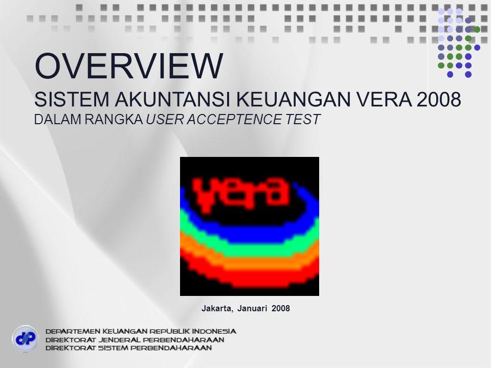 Jakarta, Januari 2008 OVERVIEW SISTEM AKUNTANSI KEUANGAN VERA 2008 DALAM RANGKA USER ACCEPTENCE TEST